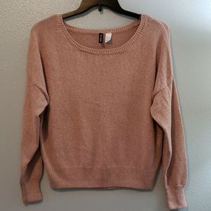 H&M DIVIDED, crop length, rose-gold sweater